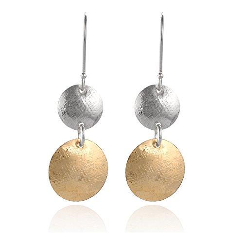 Ohrringe in 2Farbtönen, kleine Platten mit strukturierter Oberfläche, 14k Gold (gold-gefüllt) und 925 Sterlingsilber, Hängeohrring (Gold Disc Baumeln Ohrringe)