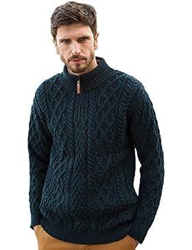 100% Merinowolle Aran-Wollpullover mit halblangem Reißverschluss aus Leder, haferfarben
