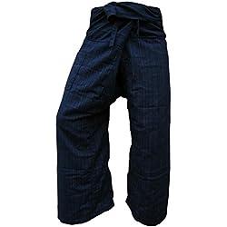 Pantalones tailandeses Panasiam, clásicos, en las tallas S, L y XL, en 13colores diferentes, con bolsillo, auténticos y de lana azul oscuro L
