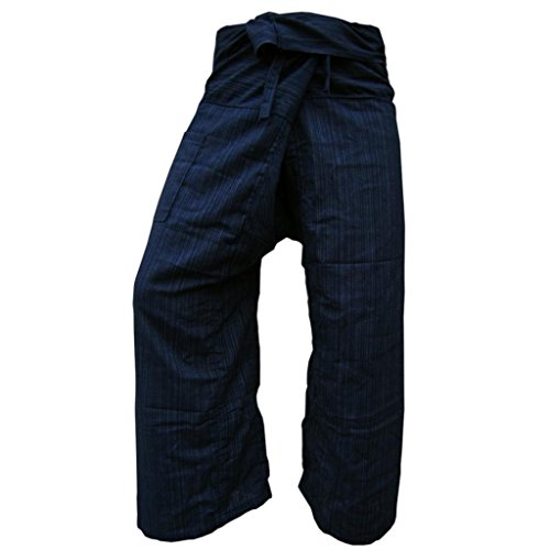 Original Thai Fishermannhose: Lin in dunkelblau, Unisize L