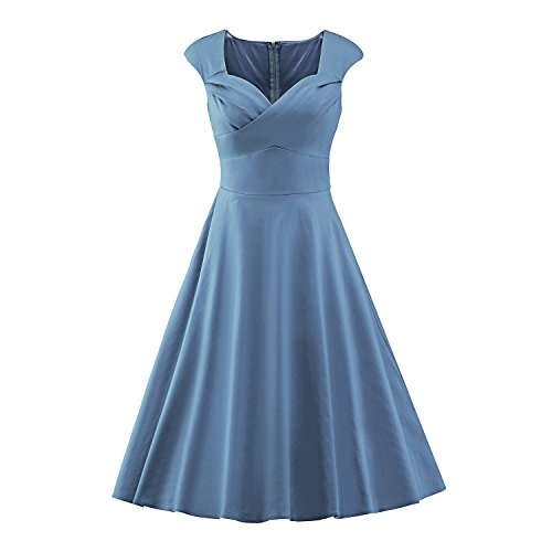 iLover Frauen 1950 Art-Weinlese Rockabilly Swing-Party-Kleid, LakeBlue2, EU 46(3XL) (Kleid Geraffte Mieder)
