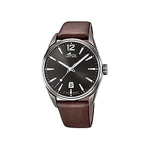 Reloj Lotus Chrono 18685/1 para Hombre, Color Acero Blanco y Correa marrón, 42mm