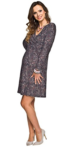 Graues Umstandskleid elegant mit violettem Muster Langarm für Winter