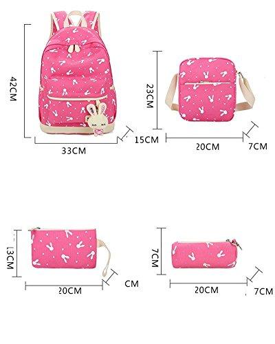 YiLianDa Zaino Scuola Ragazze Adolescenti Canvas Backpack Zaino Spalla Viaggio Daypacks 4pcs Verde