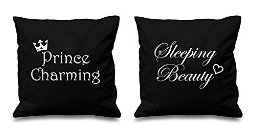 Prince Charmant Sleeping Beauty Noir Housses de coussin 40,6 x 40,6 cm Couples Coussins Saint-Valentin anniversaire Boyfriend Girlfriend Chambre à coucher Coussin décoratif Maison