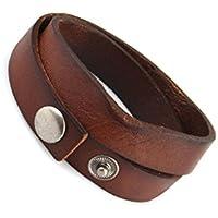 Sharplace Vintage Bracelet Bangle Deux Cercles Personnalité Cuir PU Ride Boucle en Alliage Mâle Femelle