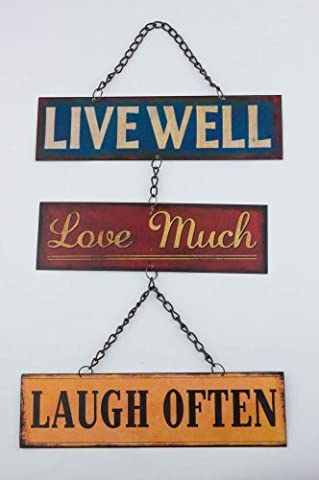 Retro Live Well Love Much Laugh Often Retro Metal Hanging Sign by from Then to Now