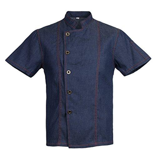 Homyl Männer Frauen Denim Kochjacke Knöpfe Bäckerjacke Gastronomiebekleidung Kochhemd Arbeitskleidung für Koch Köche - Blau, XL - 3