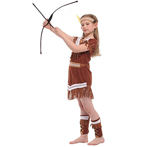 Indian Kostüm Brave Kind - LOLANTA 4pcs Kinder Mädchen Halloween Indianer Kostüm Indian Princess Dress Brave Hunter Outfit (8-9 Jahre)