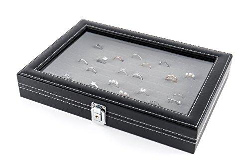 JackCubeDesign Schmuck Ring Display Organizer Aufbewahrungsbox Case Tray Halter mit 100 Slot Ring Display und Glasabdeckung (schwarz, innen grau Velvet, 33,8 x 23,6 x 5,3 cm) -: MK376C -