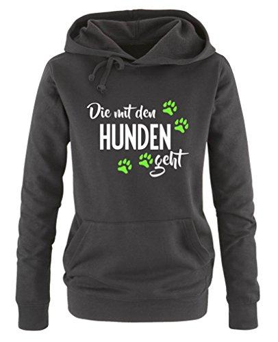 (Comedy Shirts - Die mit den Hunden geht - Damen Hoodie - Schwarz/Weiss-Neongrün Gr. XL)