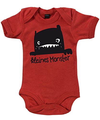 ::: KLEINES MONSTER ::: Babybody Rot, Größe 3/6 Monate (Mama Papa Baby Halloween Kostüme)