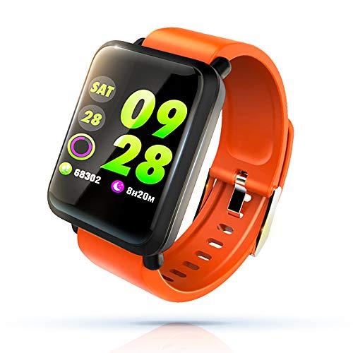 KawKaw M28 Premium-Smartwatch für Damen, Herren & Kinder mit Pulsmesser, Blutdruckmesser, Aktivitätstracker und Schlaftracker - 1,3 Zoll IPS LCD Display - Nur federleichte 38 Gramm (Orange)