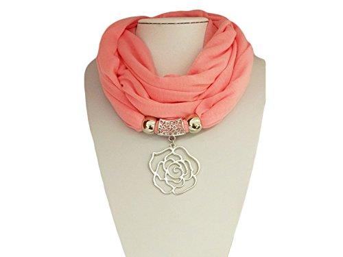 """La Loria bufanda de las mujeres """"Rose"""" pañuelo de moda con el colgante de la bufanda - Rosado"""