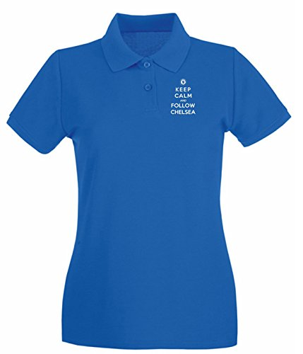 Cotton Island - Polo pour femme WC0426 Keep Calm And Follow Chelsea Bleu Royal