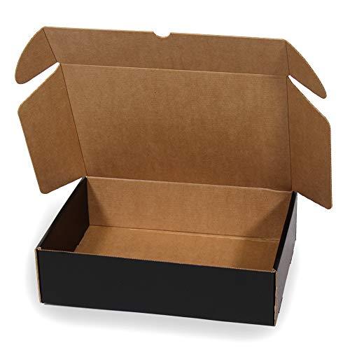 Kartox   Caja De Cartón Negra para Envío Postal   Caja Automontable ideal para Regalo   Caja de Cartón Resistente   Talla L   30x22x8   20 Unidades
