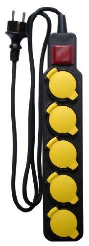 Bloc Étanche IP44 5 Prises 16A 2P+T avec Clapets et Interrupteur - Câble HO5RRF 3G1 de 1,5m