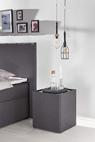 Furniture for Friends Möbelfreude® Nachtkonsole Nele Anthrazit   Nachttisch mit Glasplatte und Zwei Fächern   Idealer Nachtschrank für Boxspringbetten und Polsterbetten