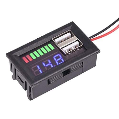 Display digitale a LED Voltmetro Voltmetro Volt Tester Dual USB 5V 2A per DC 12V Auto Motociclette Veicoli Capacità della batteria - Blu
