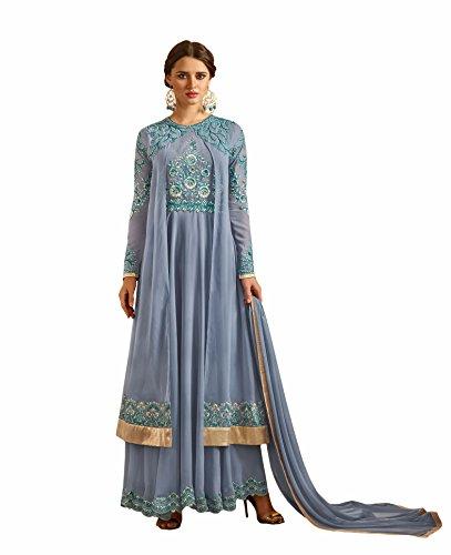 Dark grey colour embroidery georgette semi_stitched Anarkali party-wear-salwar-kameez
