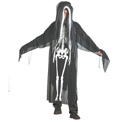 HET Männer Frauen Happy Halloween Unisex Cosplay set Kostüm Zauberer Hexe Umhang Cape Robe Kleidung Lieferungen für Halloween (One Size, Shwarz)
