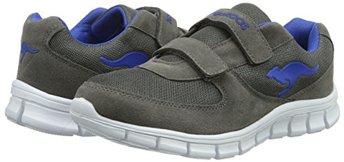 KangaROOS Bluekids 2082, Baskets Basses Mixte Enfant Gris - Grau (dk grey/royal blue 245)