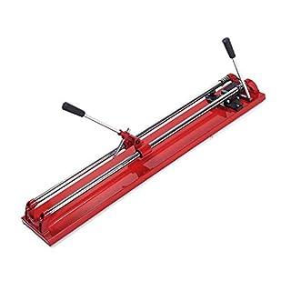 tcatec Fliesenschneider Fliesenschneidmaschine Manuell Schnittlänge 800mm Eingleisig Laserführung Einstellbar Handfliesenschneider - Rot (800MM Doppelgleis)