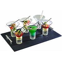 Lebrun 92LB105C1 Electro Plat de Service Entrée Dessert 13 Pièces Verre/Ardoise