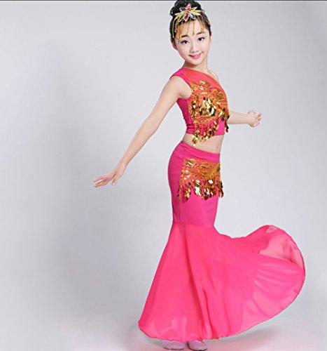 (HUOFEINIAO Mädchen Kinder Dai Fischschwanz Rock Kinder Ethnischen Tanz Kleidung Pfau Tanz Kostüm Rot/Blau/Gelb/Rosa/Grün,Pink,130)