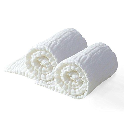 Babydecke Baumwolle, Baby Handtuch (2 Stück), Pucktücher für Neugeborenes, babydecken für Mädchen & Junge, Baby Baumwolle Badetuch, Super Weich Baby Badehandtuch, Soft Cotton Towel, Weiß,100x100 cm