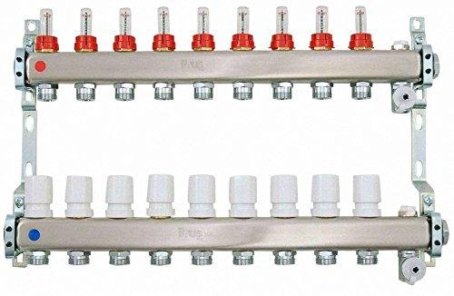 Heizkreisverteiler aus Edelstahl für Fußbodenheizung Profi-Ausführung 9-fach, inkl. 2x Kugelhahn 1