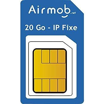 AIRMOB Carte SIM 20Go par Mois, Multi-opérateurs IP Fixe. Couverture France métropolitaine. Idéal domotique, Alarme, caméra et routeur (1 Mois)