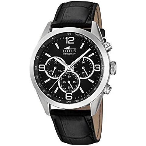 Lotus-Orologio da uomo al quarzo con Display con cronografo e cinturino in pelle nera 18155/2 - Gioielli Cinturino In Pelle Nera