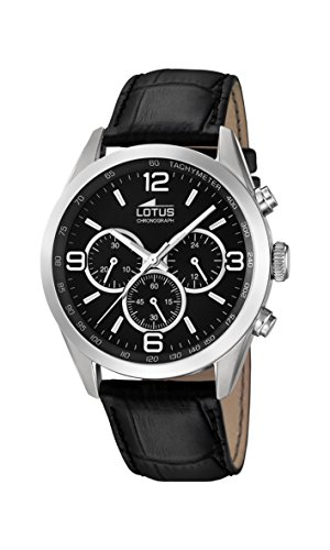 Lotus Men's Quartz Watch with Black Dial Chronograph Display and Black Leather Strap 18155/2