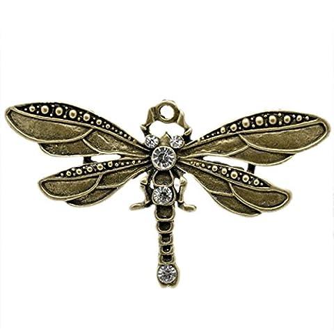 HOUSWEETY 5 Bronze Tone Rhinestone Dragonfly Charm Pendants-Jewellery Making Findings,DIY Crafts