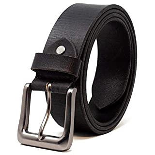 Ashford Ridge Mens 38mm Full Hide Real Leather Belt for Jeans - Black XL