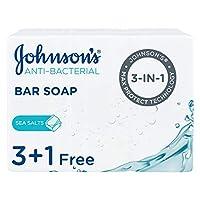 JOHNSON'S Bar Soap, Anti-Bacterial, Sea Salts, 125g, Pack of 4