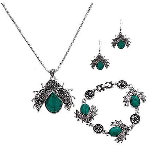 Yazi Lind New Style joyas set tibetischen Silberne placa mariquita palomitas Cadena turquesa collar pendientes pulsera mujeres