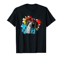 Bunte Farben Hunde Kopf - Kleiner Münsterländer Geschenk T-Shirt