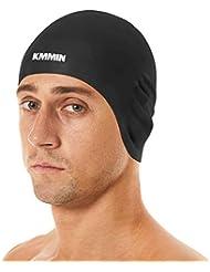 KMMIN Gorro de natación, Gorro de natación de Silicona Premium para Damas/Mujeres Cabello Largo Hombres Cabello Corto Gorro de natación ergonómico 3D con Gran Elasticidad Protección para los oídos