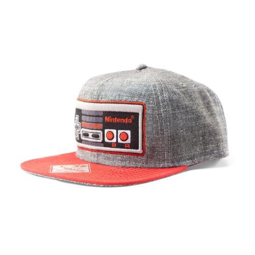 Nintendo Controller Snap Back Cap - grau & rot, bestickt, Material: 100% Baumwolle. Größe verstellbar. (Hut Leinen Besticktes)