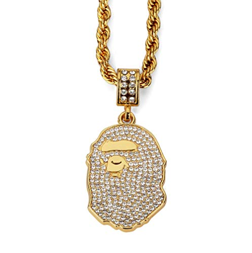L&H Hip Hop Halskette Pendant PE Head Necklace Dense Zircon Super Flash Dickgold Plating Schmuck Super Mom-sweatshirt