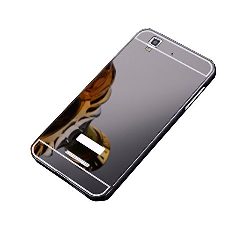 Taslar Luxury Mirror Metal Series Bumper Back Cover Case For Micromax Yu Yureka / Yu Yureka Plus (Gray)