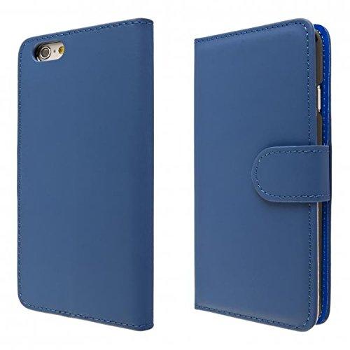 ECENCE APPLE IPHONE 6+ 6S+ PLUS (5,5) SCHUTZ HÜLLE HANDY TASCHE CASE COVER KLAPP HÜLLE WALLET BRIEFTASCHE BOOK-STYLE MIT STANDFUNKTION STANDFUSS 41010304 Dunkelblau