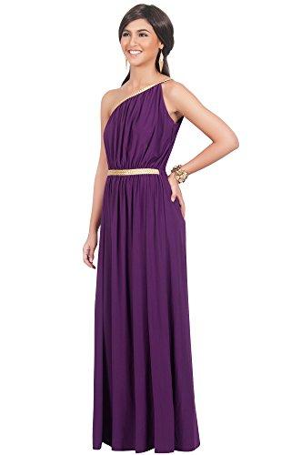 KOH KOH® Damen Schulterfrei Cocktail Maxikleid Griechische Göttin Elegantes  Abschlussfeier Kleid Violett / Lila