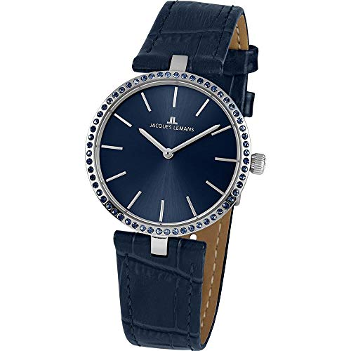 Jacques Lemans Women's Milano 34mm Blue Leather Band Quartz Watch 1-2024I