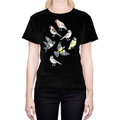 Head Case Designs Offizielle Tangerine-Tane Illustrierte Vögel Kunst L - Large Schwarz Damen-Shirt (Illustrierte Vögel)