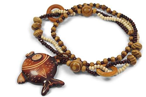 Boho Kette Halskette lang Damen Holzperlen Natur braun beige Holzringe Fisch Anhänger Pulloverkette lang mit Anhänger (PWW126)