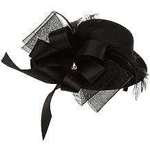 Fascinator Sombrero De Plumas Negro Pin Pinza De Pelo Del Arco Broche De Joyería Tocado Velo