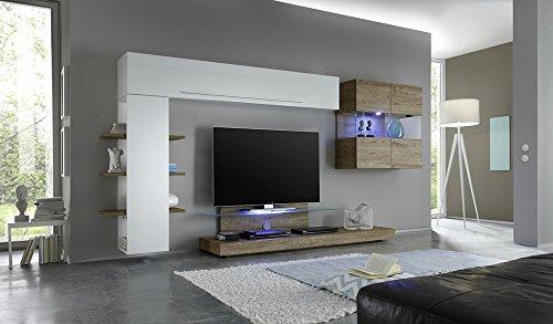 Sodani parete attrezzata mobili salotto 2 mobili sospesi 1 mobile tv 1 libreria a parete 340x50x171cm line bianco lucido miele